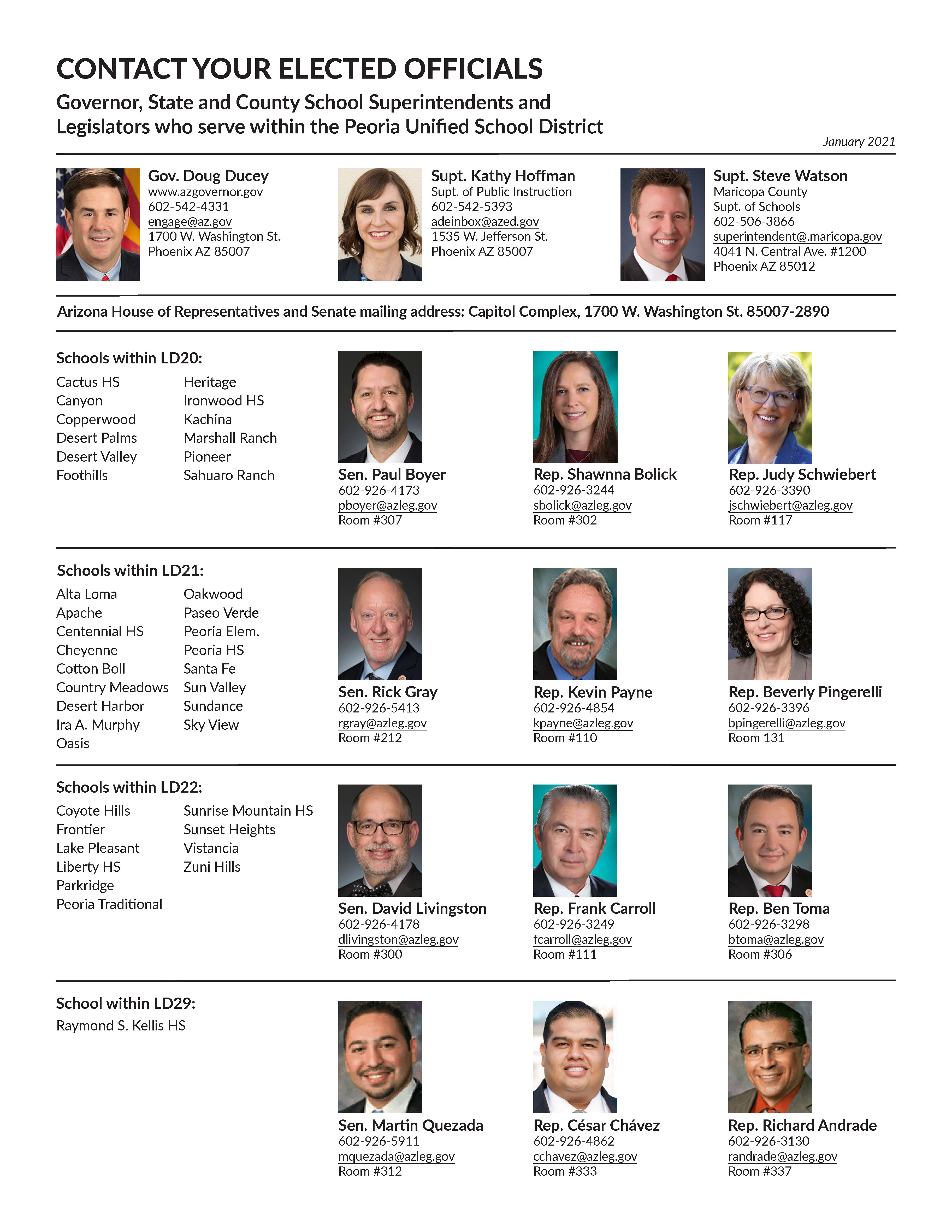 Elected officials names, photos and contact information