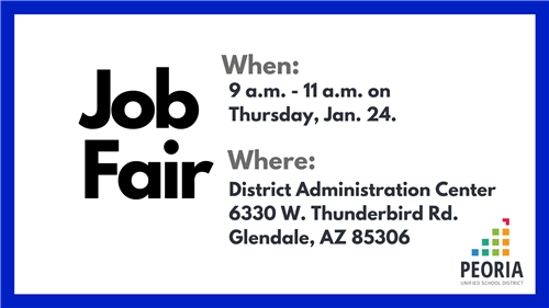 Classified Job Fair  from 9 a.m. to 11 a.m. on Thursday, Jan. 24 at the District Administration Center