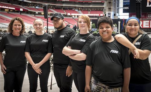 Six PSBN students posing on the floor of University of Phoenix Stadium