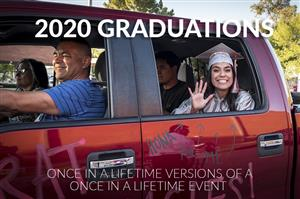 2020 Graduation Photo of smiling grad in backseat of vehicle