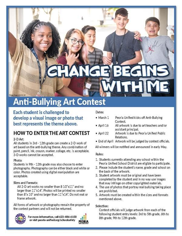 group of kids with change begins with me in title information for anti bullying art contest