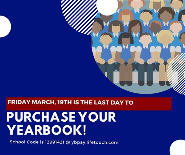 March 19th is last day to purchase year book icon with drawing of a group of people