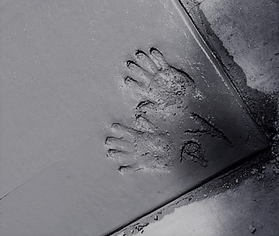 Debbie Yingling's hand prints in cement