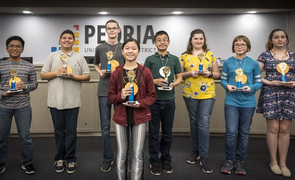 Photos of the students who won the spelling bee.