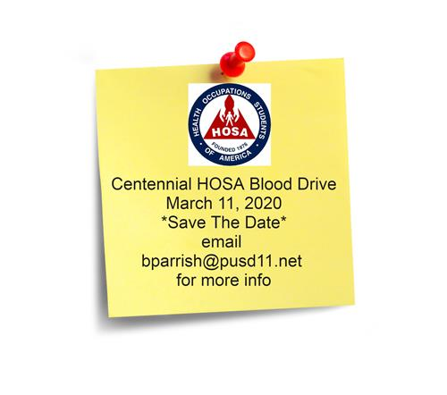 HOSA Blood Drive ~ March 11, 2020
