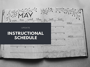 Calendar graphic highlighting instructional schedule update