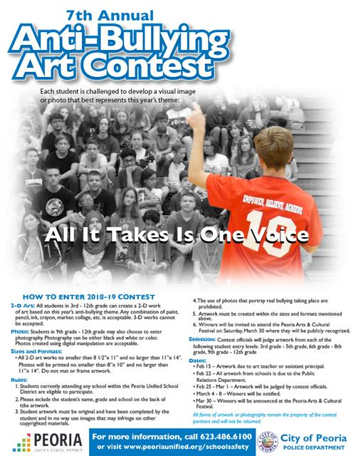 Anti Bullying Contest Flyer. All information is presented on web page below