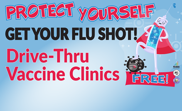 Protect Yourself. Get your flu shot. Free drive-thru vaccine clinics