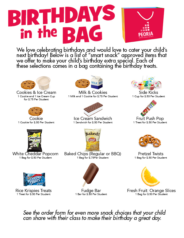 Birthdays in the Bag Item Photo Information Available on Order Form